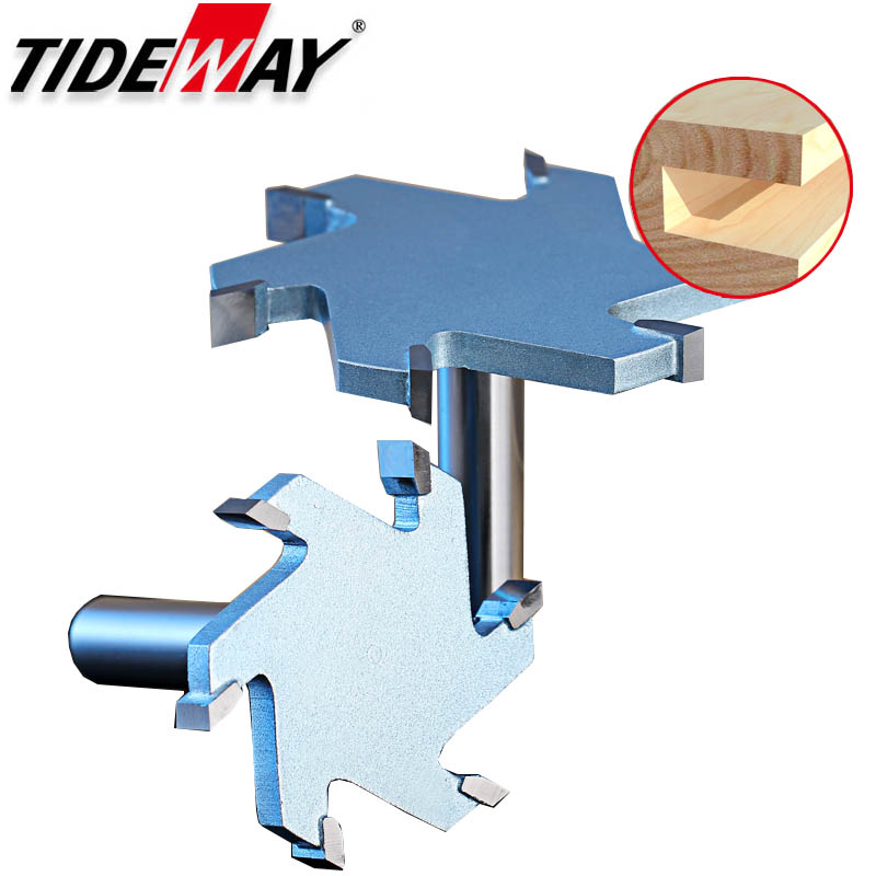 Tideway 1/2 Shank 6 Flutes Groove Slotting Milling Cutter CNC Tool For Hard Wood Cutters T Type Slot Woodworking Router Bit