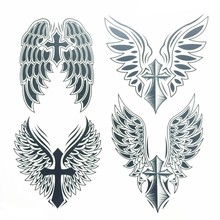 Cross Wing Large Waterproof Temporary Tattoos Neck Back Body Cross Wings Men Makeup Fake Spray Transfer Sexy Tattoo Stickers