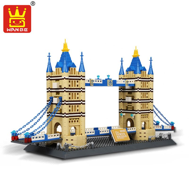 WANGE Building Blocks World's Famous Architecture Bricks DIY Model Building Kits London Bridge Eiffel Tower Toys For Children mr froger loz diamond block easter island world famous architecture diy plastic building bricks educational toys for children