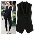 S/XL Plus Size Spring 2017 New Chiffon Neck Two Buckle Vest European Women Waistcoat Black Gilet Jackets Colete Feminino JY-164