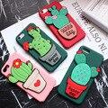 3d bonito borracha cactus flower plástico rígido caso estande híbrido silicone case capa do telefone para iphone 6 6 plus 6 s plus