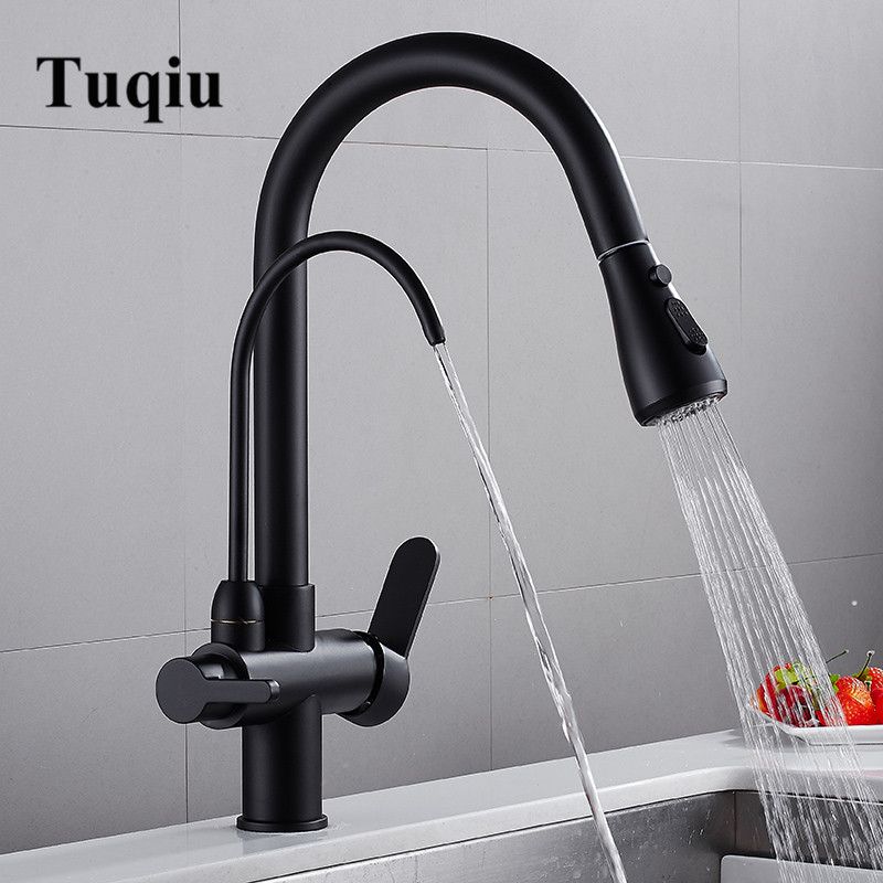 Pull Out Kitchen Faucet Solid Brass Crane For Kitchen Deck Mounted Black Water Filter Tap Sink