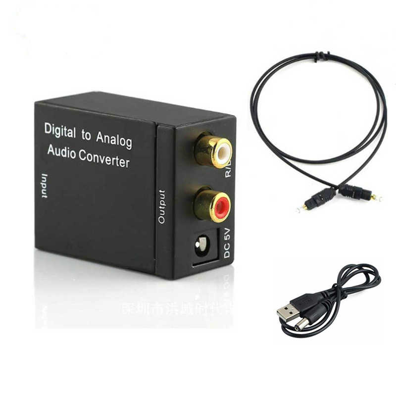 Convertidor de Audio Digital a analógico Digital Coaxial óptica RCA Toslink señal a convertidor de Audio analógico Home Theater para DVD TV