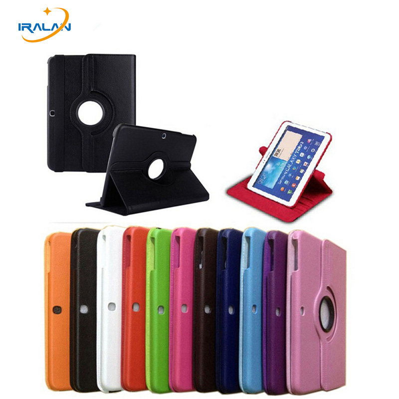 2017 New 360 Rotating <font><b>Case</b></font> For Samsung Galaxy Tab 3 10.1 P5200 P5220 <font><b>P5210</b></font> Tablet lychee pattern Cover shell+protective film+pen image