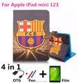 Para ipad mini caso, con gigantes del fútbol patrón de 7.9 pulgadas de la tableta cubierta de cuero suave de la pu para apple ipad mini 1 2 3 película + pen + otg