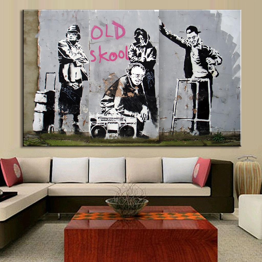 Large Size 1 Pcs Banksy Art Old Skool Wall Decor Canvas Prints Pictures