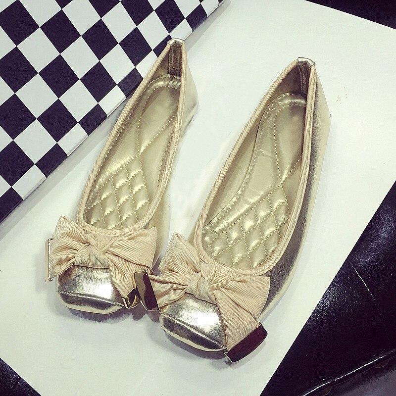 Fashon Metal Bowtie Women Ballet Flats Spring Autumn Square Toe Slip On Females Flats Shoes Ladies Casual Boat Shoes Plus Size
