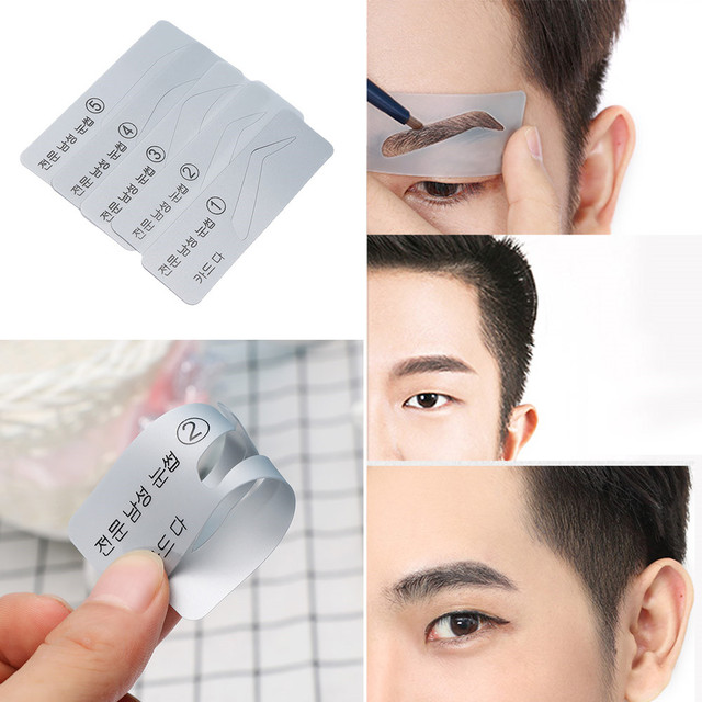 Men 5 Styles Brow Drawing Guide Eyebrow Template Make Up Tools Grooming Stencil Eyebrow Thrush Card High Quality 5