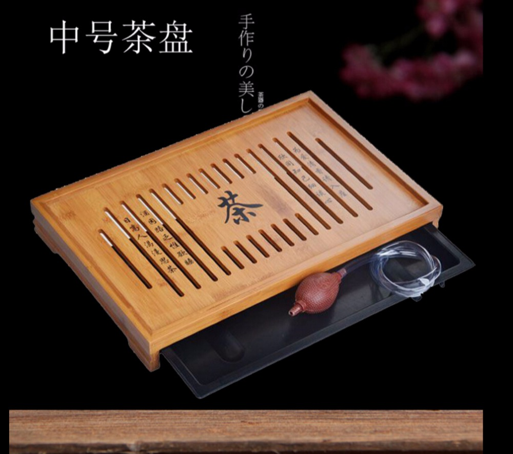 Solid wood tea tray Drainage water storage kung fu tea set Drawer tea room board table