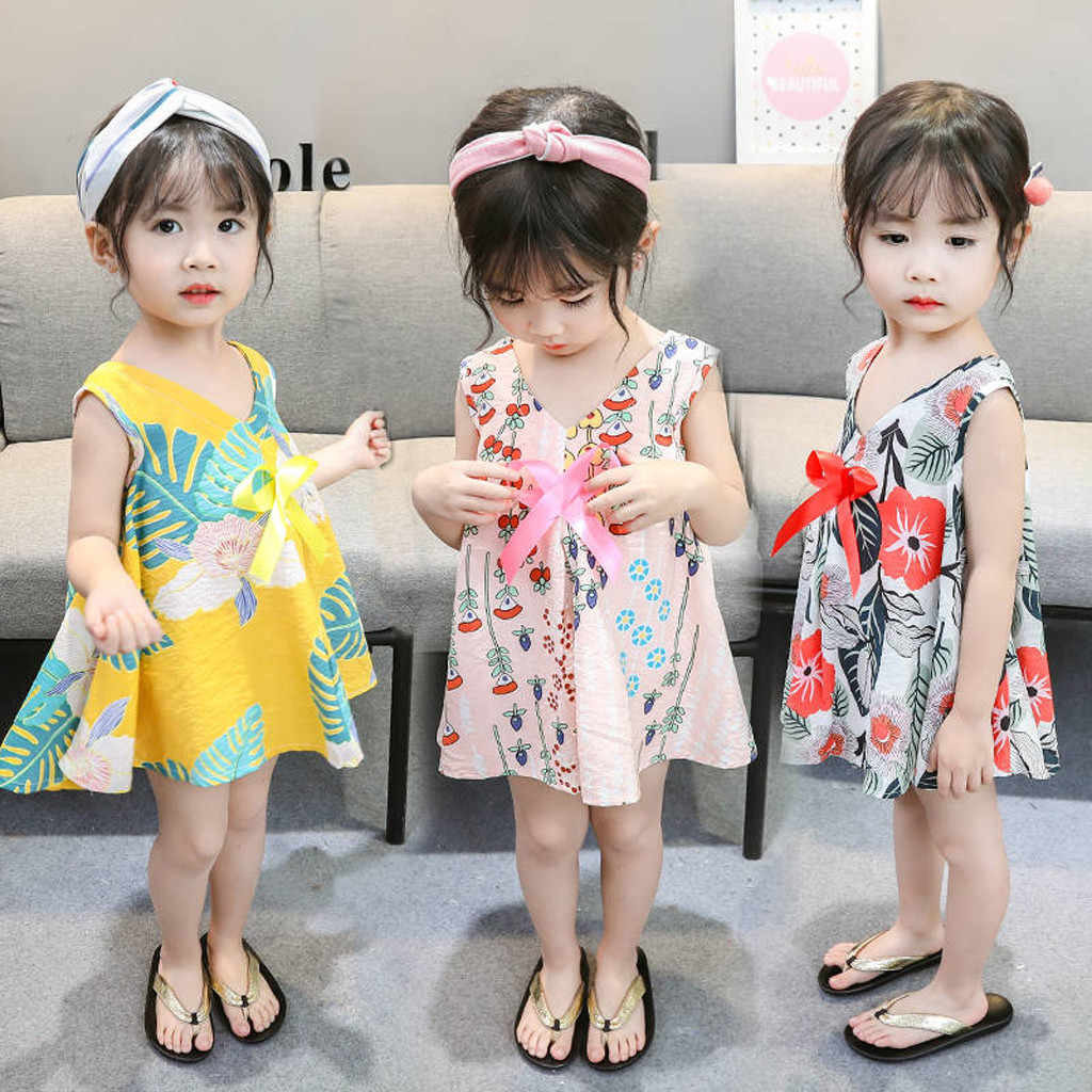 Toddler Baby Clothings Dresses Kids Girls Sleeveless Cute Floral Leaf Print Bow Dresses Casual Clothes Chindren's Dresses 2019