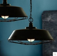 60W Edison Style Loft Vintage Industrial Pendant Lamp With Black Lampshade Lamparas Pendente