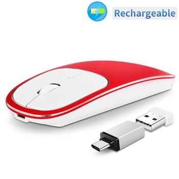 Ratón inalámbrico recargable, aleación de aluminio 2,4G ratón óptico inalámbrico portátil sin ruido con receptor USB