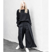 AEL широкие брюки для женщин с высокой талией двухслойные элегантные прямые Лоскутные женские брюки Осенняя женская одежда