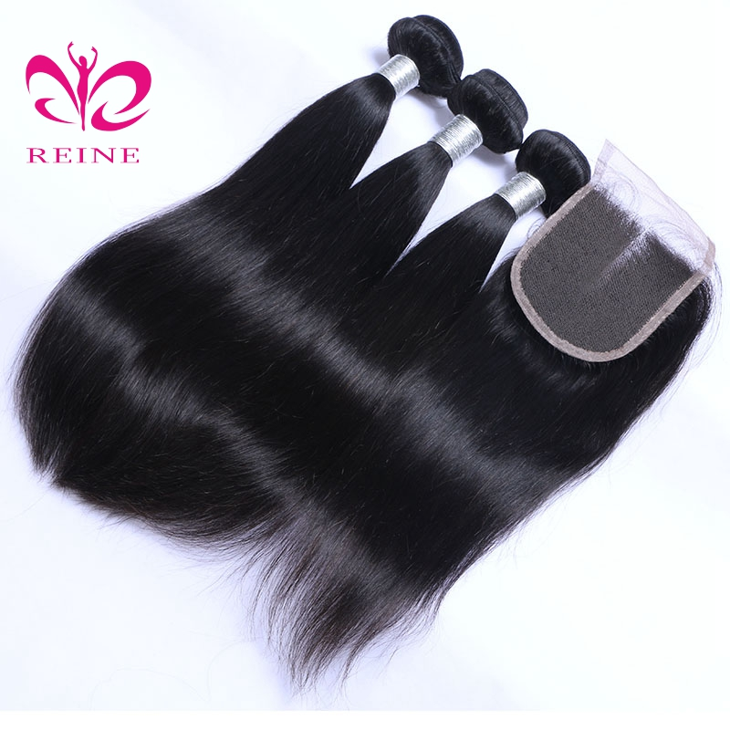 Body Wave Bundles With Closure 3 Bundles Brazilian Hair Weave With Lace Closure Reine Non Remy Human Hair Weaves