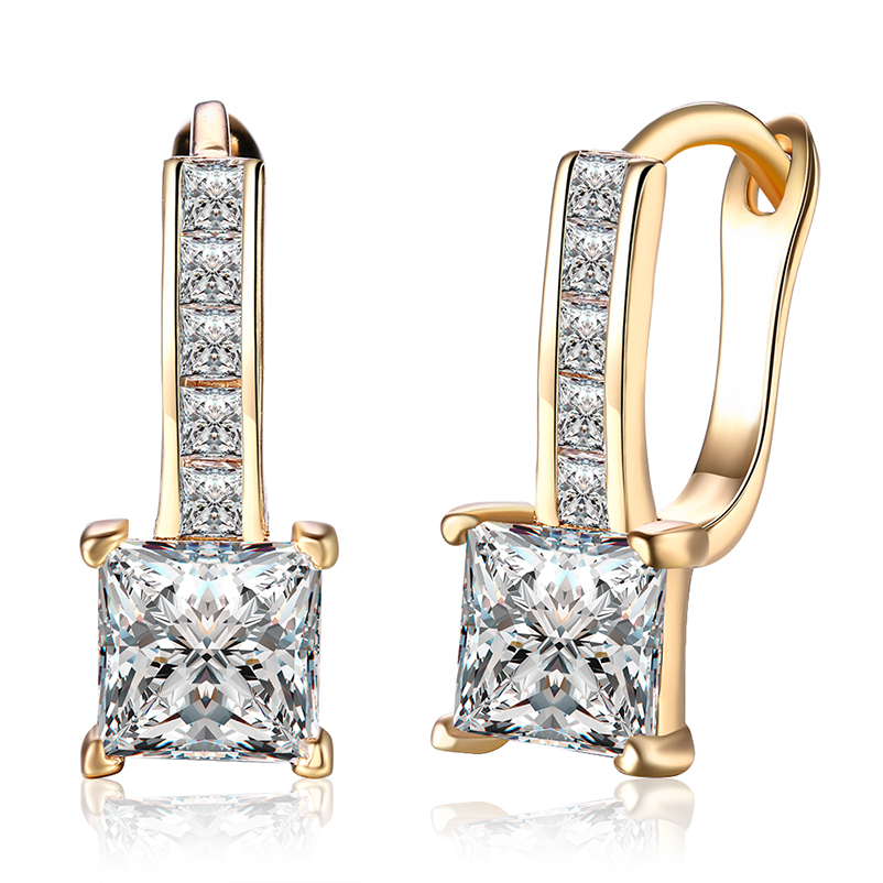 Fashion Square Cubic Zircon Champagne Gold Copper Stud Earrings for Women Girls Romantic Cute Earrings Jewelry Female E7D03B