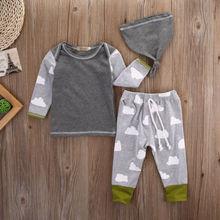 3pcs Clothing Set Cloud T-shirt Tops+Pants Leggings Casual Hat