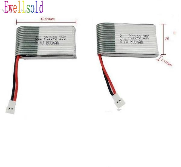 все цены на Ewellsold X5C X5 X5SW X5SC RC RC quadcopter RC drone spare parts  3.7V 600Mah Li-polymer Battery 2pcs/lot  Free shipping онлайн