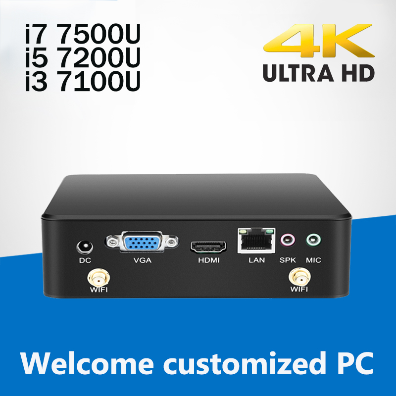 Mini Computer Desktop Windows 10 240GB SSD Mini PC Core i3 7100U i5 7200U i7 7500U CPU 4K Display HTPC Komputer TV BOX 4*USB3.0 цена 2017