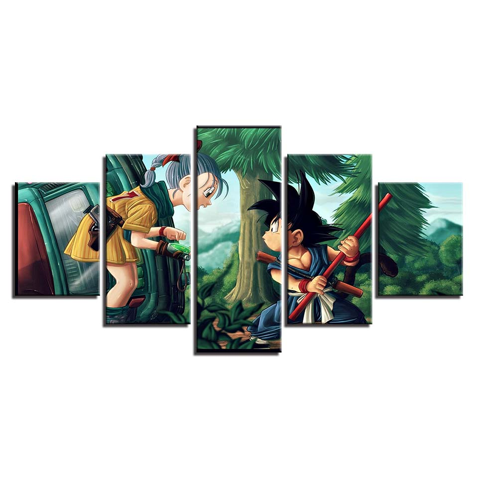 dragon ball hd printed 5 panel frame canvas painting anime crazy store. Black Bedroom Furniture Sets. Home Design Ideas