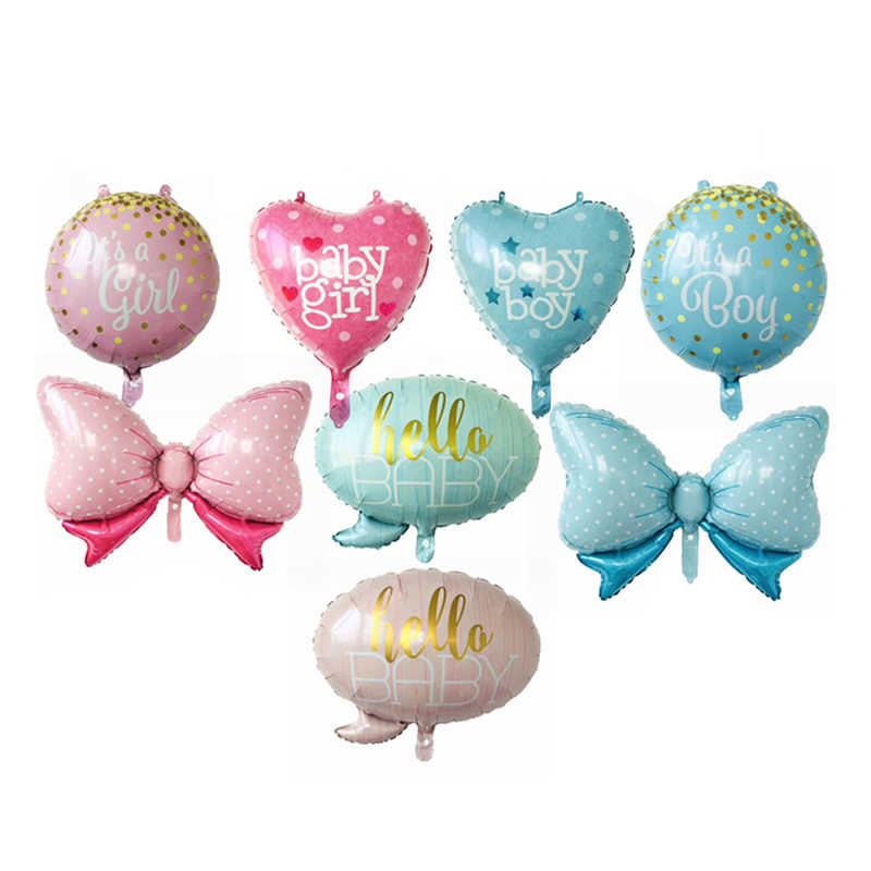 Baby Shower Foil Balloons Baby Girl Baby Boy It's a Girl It's a Boy Hello Baby Helium Balloon Bow Ballonnen Kids Party Ballons