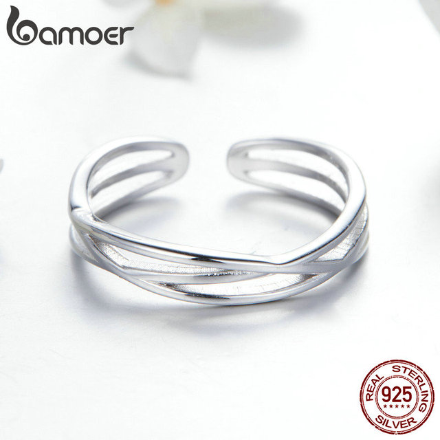 BAMOER Authentic 925 Sterling Silver Geometric Twisted Wave Open Size Finger Rings Women Wedding Engagement Jewelry SCR483 3