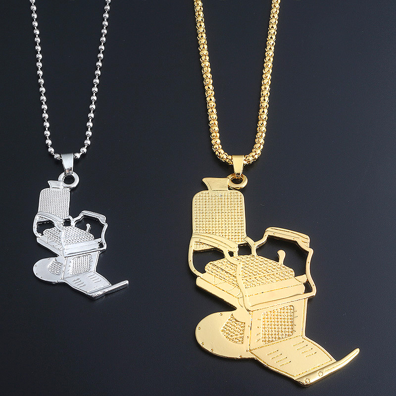 M2 New Fashion Gold Barbers Chair Series Necklaces Hip Hop Barber Chair Hairdresser Gothic Chain Necklace For Men