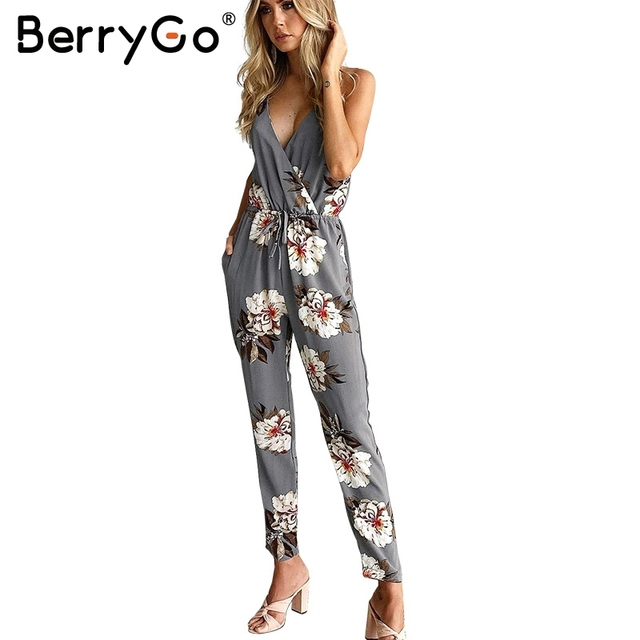 BerryGo Casual flower print long rompers womens jumpsuit Sexy v neck straight overalls Streetwear sashes chiffon jumpsuit