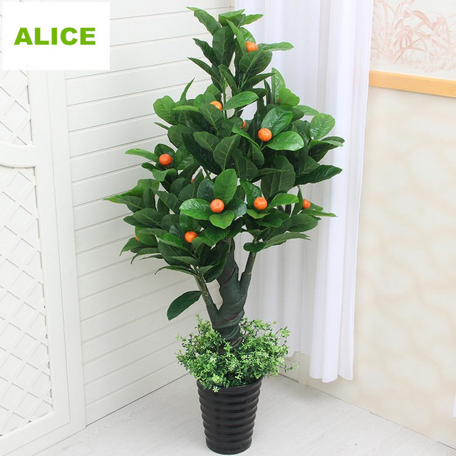 Artificial Plants Plastic Fake Fake Tree, Fruit Tree Peace Orange Flowers  Green Plant Sitting Room