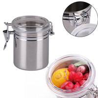 10 12 5cm Coffee Tea Sugar Preservation Storage Tanks Sealed Cans Jar Stainless Steel Kitchen Canisters
