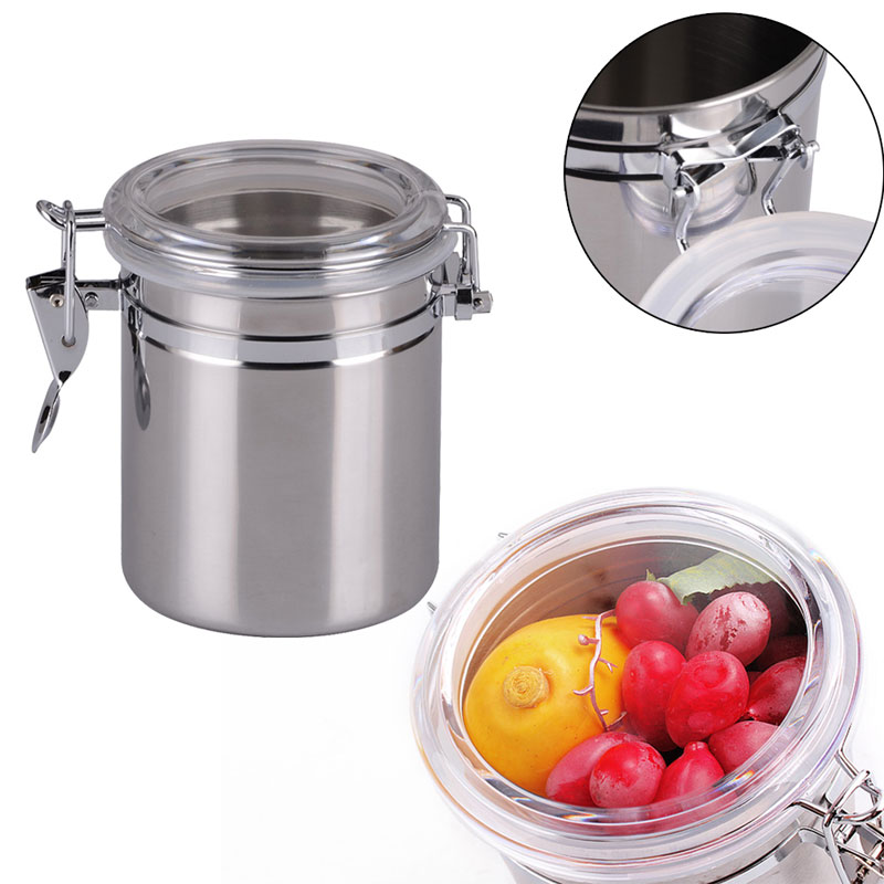 990ml Kitchen Canisters Stainless Steel Coffee Tea Sugar Storage Jars  Sealed Storage Cans Kitchen Tools