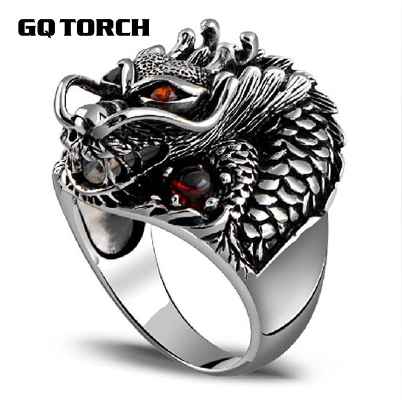 Authentic 925 Sterling Silver Dragon Rings For Men With Garnet Natural Stone Red Eyes Vintage Punk Rock Mens Fine Jewelry
