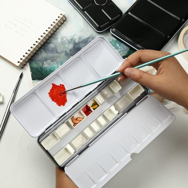 Almacenamiento de pintura de paleta de latas de pinturas de acuarela vacías con 12/24/48 piezas de sartenes completos y Media sartenes para suministros de pintura artística