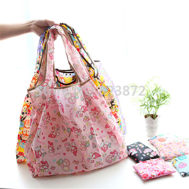 754ea5a6d9f8 Cartoon Tsum Tsum Hello Kitty Folding Reusable Shopping Bag Foldable Nylon  Grocery Bags Large Tote Bag