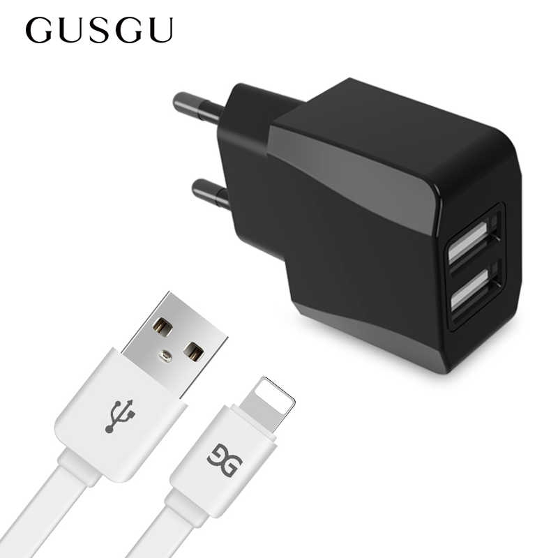 GUSGU USB شاحن للهاتف المحمول 2 منافذ الذكية جدار شاحن محول 5 فولت/2.1A سريع شحن ل فون باد سامسونج Xiaomi