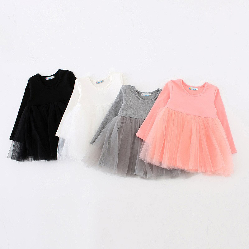 Sun Moon Kids Dresses Girls Dress Long Sleeve Girls Baby Tutu Dress Tulle Girls Fluffy Princess Dress Toddler Girls Clothing