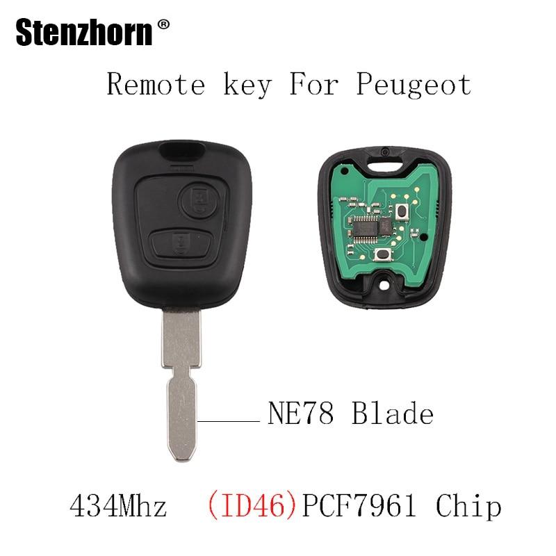 Stenzhorn 2Buttons 434Mhz Remote key For Peugeot 406 407 408 607 PCF7961 Chip & NE78 Blade Original Remote keys