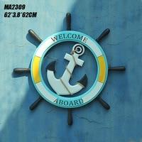 Mediterranean Style 62CM Vintage Nautical Home Decor Ornaments Creative Wall Art Hanging Crafts Anchor Helmsman Steering Wheel