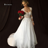 Vintage Long Sleeves Wedding Dresses With Detachable Skirt Scoop Sheer tulle Illusion Back A Line Bridal Gowns wedding dress New