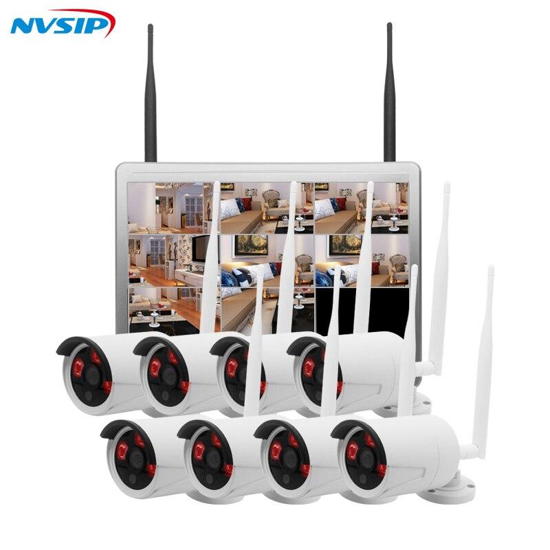 NVSIP 8CH 1080P font b Wireless b font NVR CCTV System Kit 12 LCD Screen Monitor