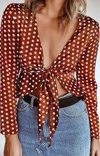 S-XL women autumn winter v neck long sleeve top best dot t shirt tops casual leisure sexy