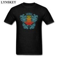 Nueva Lista de Los Hombres T Shirt Desgastado Diseño Hawaii Imprimir Puesta de Sol Para Hombre Casual T-shirts Tops Tela de Algodón