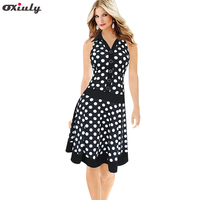 Dropshipping New Women Cute Dot Print Turn Down Collar Sleeveless Loose Dress With Belt S XXL