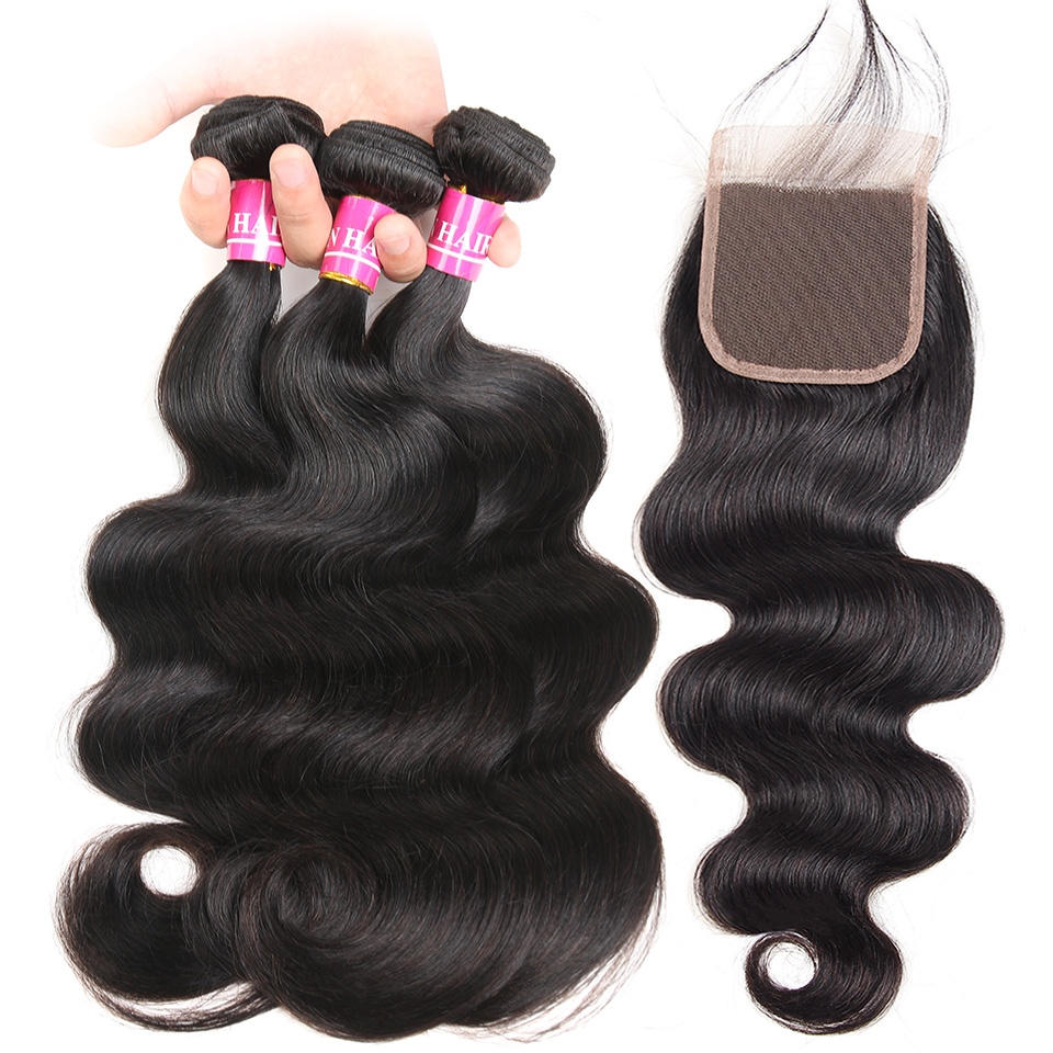 Mellow Malaysia Hair Weave Bundles With Closure Body Wave 2/3/4  Bundles With Closure 100% Human Hair Bundles 4x4