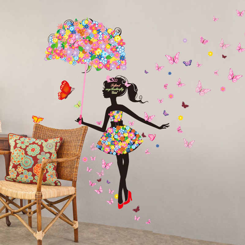 Modern Girl Flower 3D Butterfly Wall Decor Home Decoration Removable Vinyl  Decals Cartoon Kids Wall Stickers For Bedrooms In Wall Stickers From Home  ...