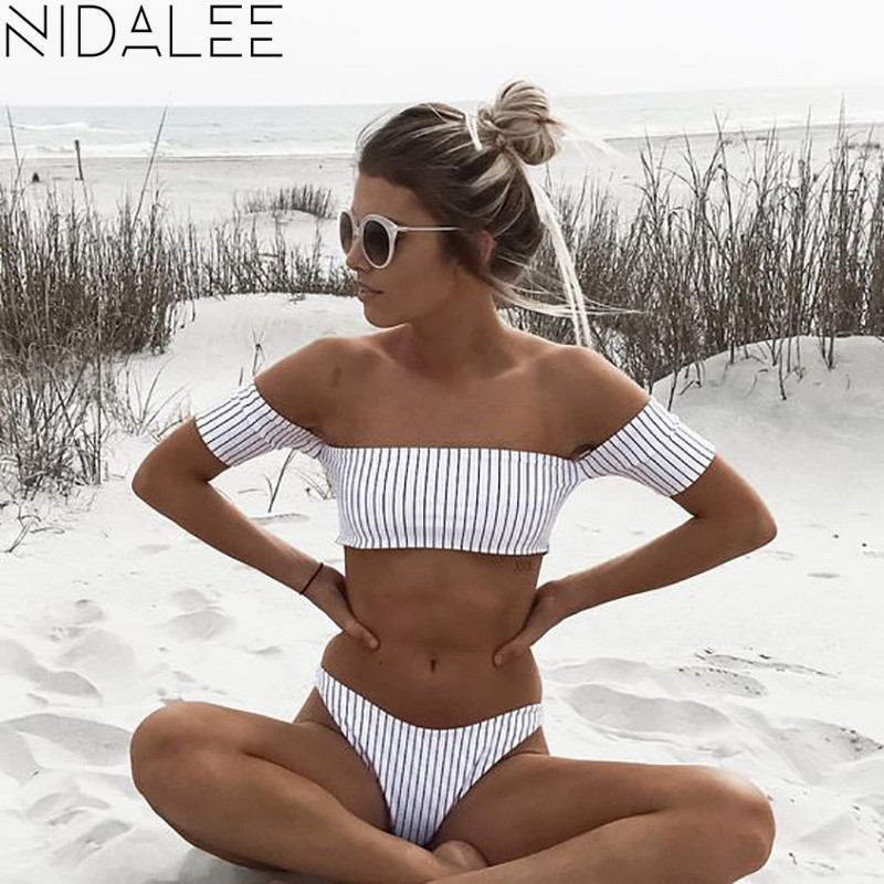 Off Shoulder <font><b>Bikini</b></font> Women's Beach 2017 <font><b>Brazilian</b></font> May <font><b>Bikinis</b></font> Set Secret <font><b>Sex</b></font> Bath Top New Swimwear Female Swimsuit Indoor 7130 image