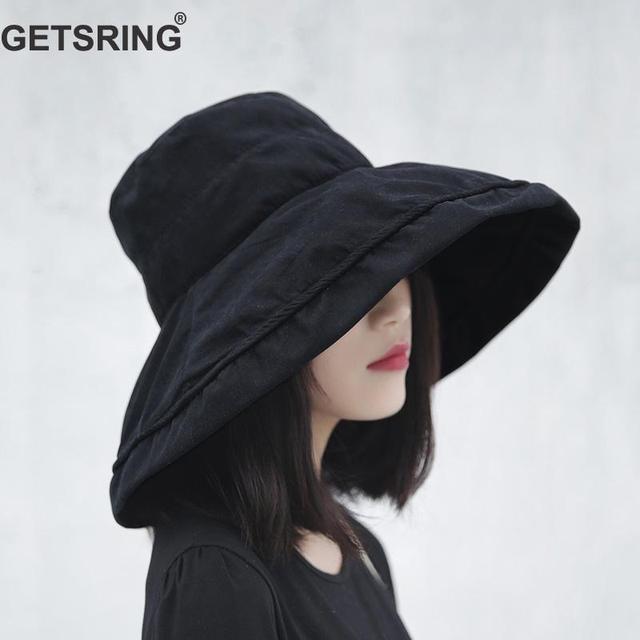 ae26e185 GETSRING Women Hat Summer Hats Women Canvas Solid Womens Sun Visor Hat  Black Red Cap Sun Lady Hat 2018 Fashion Vintage Wild New