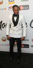 2016 New Fashion White Jacket Black Pants Double Breasted Men's Wedding Suits Party Prom Tuxedo Groomsmen Suits Groom Tuxedos