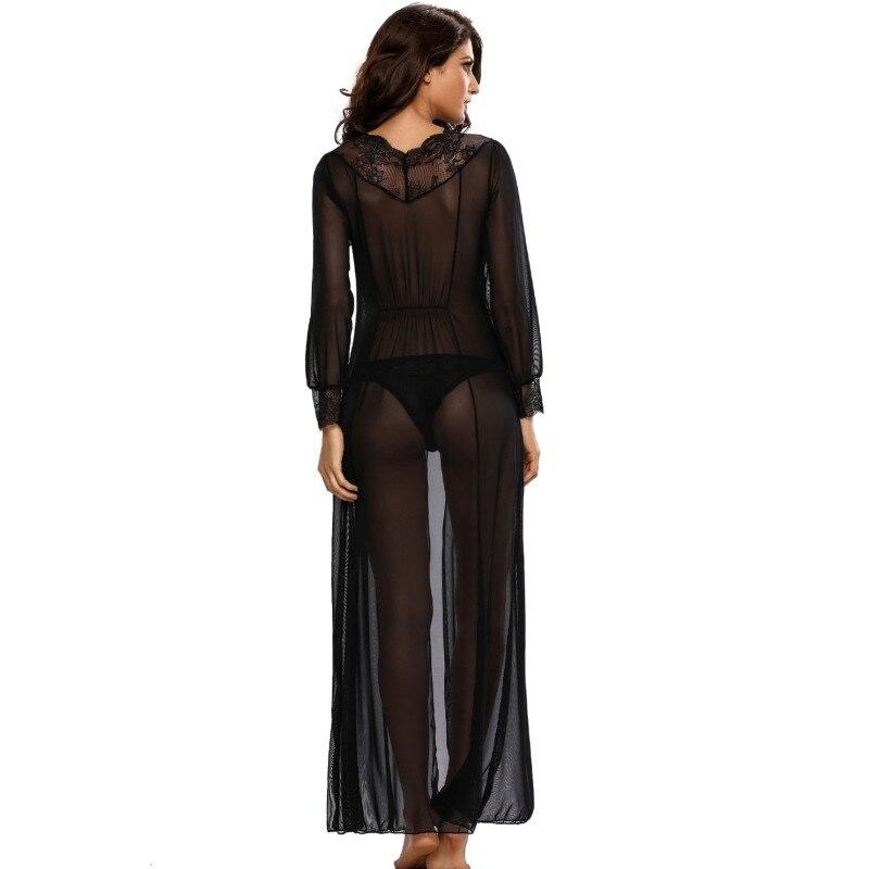 2017 Long night dress lingerie sheer lace women sexy sleepwear robe ...