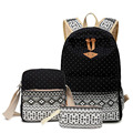 3 шт. путешествия холст точки печати женщин рюкзаки школьные сумки для девочек-подростков 14 дюймов mochila плече сумки дамы кошелек ZZ277