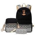 3 pcs dots impressão de lona mulheres mochilas de viagem escola bags para meninas adolescentes 14 polegada mochila sacos de ombro bolsa das senhoras ZZ277
